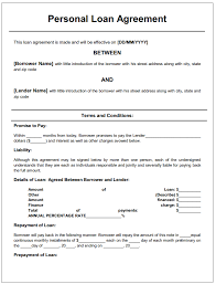 Personal Loan Agreement Template Microsoft Word