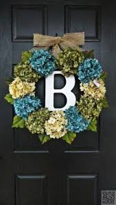 Large, Full, Customizeable Hydrangea Door Wreath for Spring and Summer, 24  Wreath With Monogram. *Could maybe make it with a foam wreath cut in half  and ...