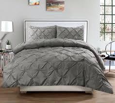 3 piece luxurious pinch pleat decorative comforter set emma wrinkle resistant 7 duvet cover free soft