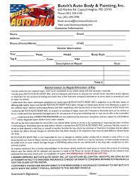 auto repair forms auto repair shop authorization form automotive intake forms