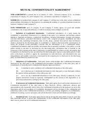 Mutual Confidentiality Agreement Mutual Confidentiality Agreement MUTUAL CONFIDENTIALITY AGREEMENT 99