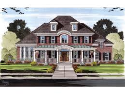 exterior colonial house design. Home Plan HOMEPW75769 - 3546 Square Foot, 4 Bedroom 3 Bathroom Colonial With Garage Bays | Homeplans.com Exterior House Design N