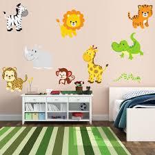 cartoon animal giraffe elephant zebra monkey lion wall sticker 3d mural wallpapers for kids room nursery wall picture home decor