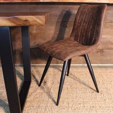zane industrial dining chair  vintage brown fabric – wazo furniture