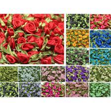 DIY 50PCS Satin Ribbon Rose Flower DIY Craft <b>Wedding</b> Appliques ...