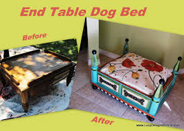 before and after makeover dog bed from an end table