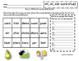 Printable phonics worksheets for kids. Word Study Packet Air Ar Ear Word Study Word Study Centers Sound Words