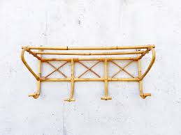 Restaurant Coat Racks Vintage French Rattan Coat Rack with 100 Hooks and Shelf Bamboo 43