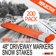 200 pack 48 long driveway markers snow plow stakes poles 5 16 perfect orange gap 245496257075