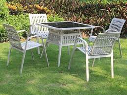 outdoor metal wicker furniture set made of powder coated aluminum frame