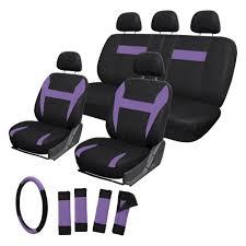 oxgord flat cloth mesh 1st 2nd row purple black seat cover set