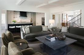 view full size under a white coffered ceiling this gorgeous gray living room features a charcoal gray velvet sofa topped