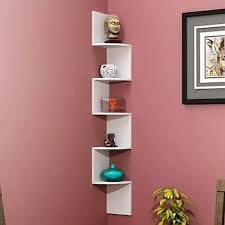 zig zag 5 tier corner wall shelf in white finish