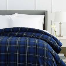 pinzon 160 gram plaid flannel duvet cover full queen blackwatch plaid