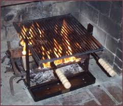 Cooking on a fireplace grill