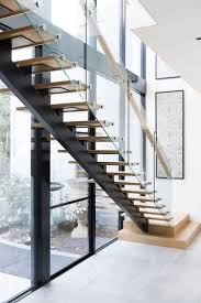 Stairs | Contemporary Staircase | Architecture | American Oak | Glass  Balustrade | Timber Treads |