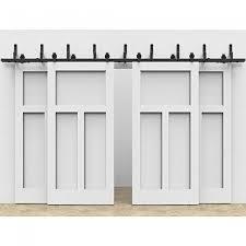 winsoon modern 4 doors byp sliding barn door hardware track kit 5 16ft t bent