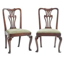 Pair of 18th Century English Queen Anne Oak Occasional Chairs For