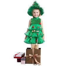 Girls Christmas Tree Costume Childs Toddler Xmas Fancy Dress Kids Girls Christmas Tree Dress