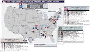 affiliated double a minor league baseball (milb) locationmap of