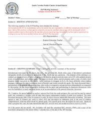 Meeting Summary Sample Sample Pwn Annual Review South Carolina Public Charter