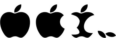 apple logo white vector. eaten apple logo vector white