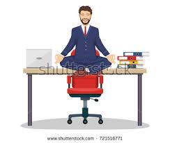meditation businessman office. business man executive manager sitting on office desk in padmasana lotus yoga pose doing mindful meditation businessman p