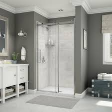 maax utile alcove shower in carrara marble with base and door lowe s canada