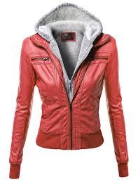 fashionoutfit women s warm faux leather sherpa lining hooded biker moto jacket