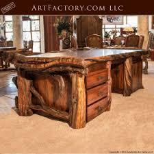 Image Mahogany Custom Log Style Executive Desk Fine Art Wild Wood Desk Lew714 Scottsdale Art Factory Office Furniture Master Handcrafted From Fine Natural Materials