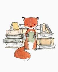 this fox loves his books art print from an original watercolor gouache and acrylic painting by kit chase archival matte paper and ink vertical