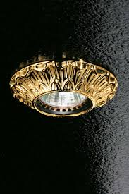 fixed round decorated gold plated recessed spotlight masiero