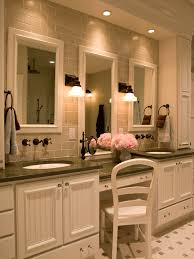 traditional bathroom vanity designs. Traditional Bathroom, Three Mirrors, Two Sinks, One Dressing Station, And Subway Tile Bathroom Vanity Designs T