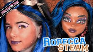 robecca steam monster high doll costume makeup tutorial for cosplay or