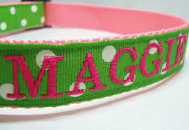monogrammed dog collars. Green And Pink Polka Dot Embroidered Customized Dog Collars Monogrammed A