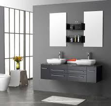 modern double bathroom vanities with grey floating sink vanities combined with granite top and double vessel sinks also wakk mounted rectangular mirror