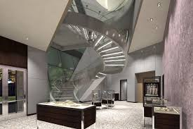 spiral staircase lighting. Marvelous Ceiling Lighting For Spiral Glass Staircase Over Modern Living Space Added Full Area Rugs In Contemporary Interior Loft Ideas D