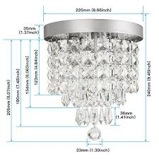 shine hai crystal chandelier 3 light modern flush mount ceiling pendant light h9 45 x w8 66 for bedroom living room dining room kitchen hallway