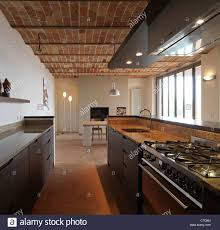 Terracotta Floor Kitchen Modern Kitchen In The Rustic House With Terracotta Ceiling And