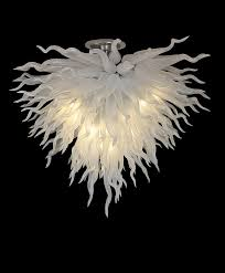Großhandel 100 Mundgeblasene Künstlerische Kronleuchter Lampe Dale Chihuly Murano Borosilikatglas Reinweiß Glas Kronleuchter Für Esszimmer Von
