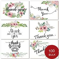 Blank Thank You Notes 100 Bulk Thank You Cards Blank Thank You Notes For Wedding Baby Shower Bridal Shower Anniversary 6 Floral Flower Design Blank On The Inside 4 X