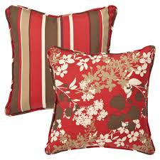 pillow perfect decorative reversible redbrown floralstriped
