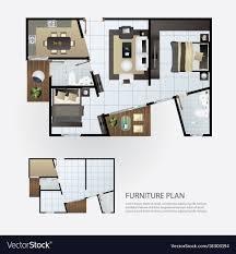 floor plan furniture vector. Layout Interior Plan With Furniture Vector Image Floor R