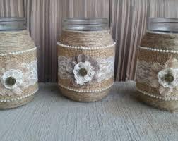 Rustic Wedding Jar, Rustic Mason Jar, Rustic Wedding, Burlap and Lace Mason  Jar