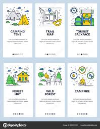 Camping Menu Template Vector Web Site Linear Art Onboarding Screens Template