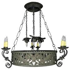 19th c wrought iron spanish chandelier