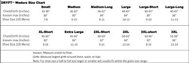 Mens Waders Size Chart Sizing Charts Dryft Fishing Waders