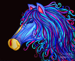 horse drawing colorful horses head by nick gustafson