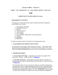 Format For Preparation Of Final Project Report Case Study For