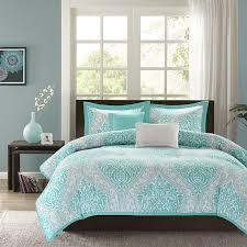beautiful modern chic blue aqua teal grey tropical beach comforter set pillows in home